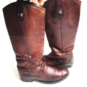 FRYE Melissa Button Leather Pull On Riding Boots